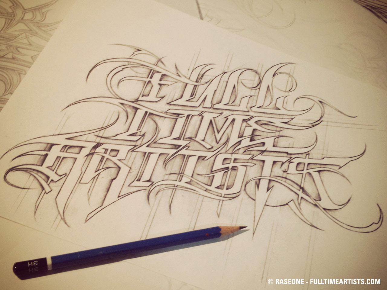 Full Time Artists pencil text