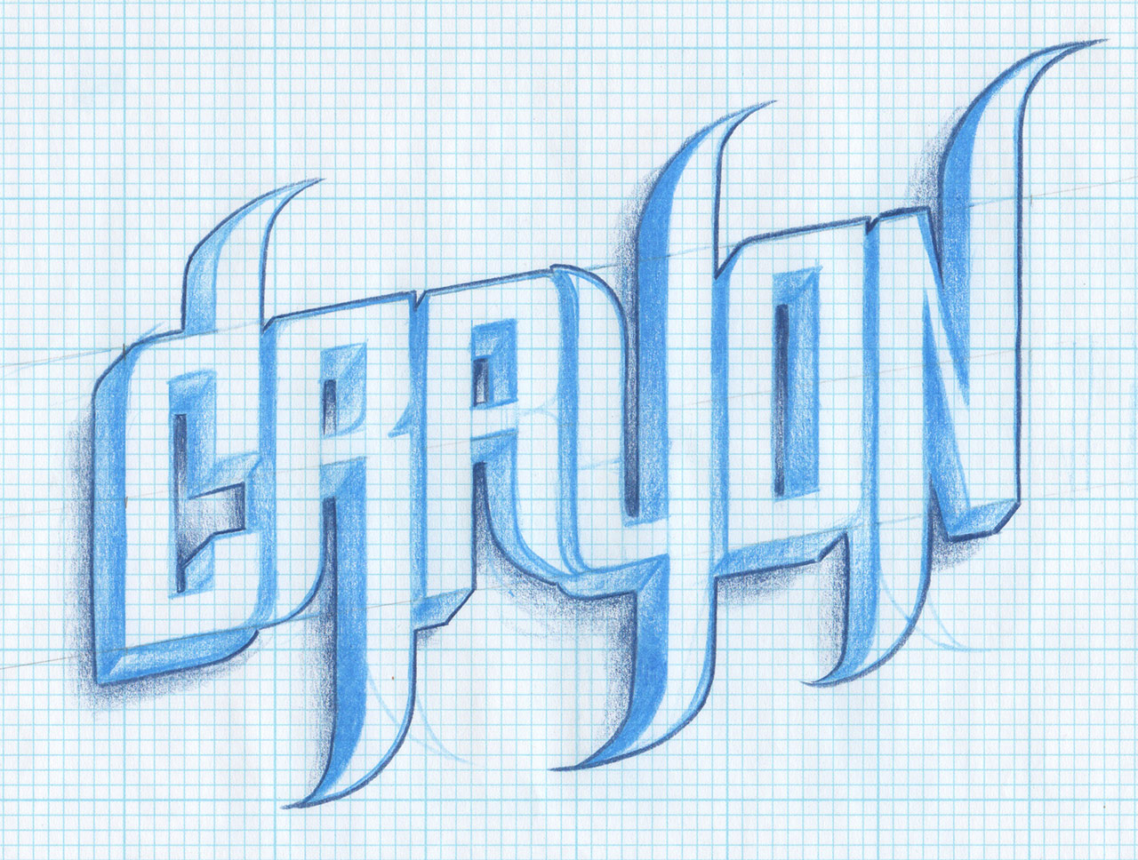 """CRAYON"" Hand sketched in the style of the ""Graffick"" font family."