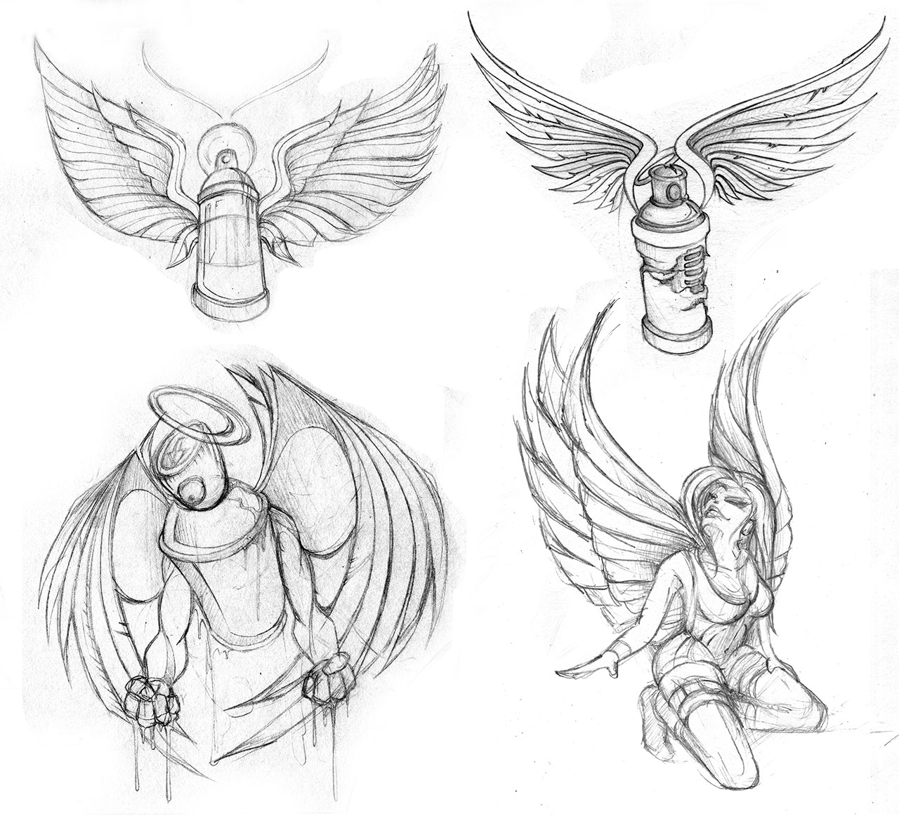 tiny pencil sketches of cans & angels & can-angels….