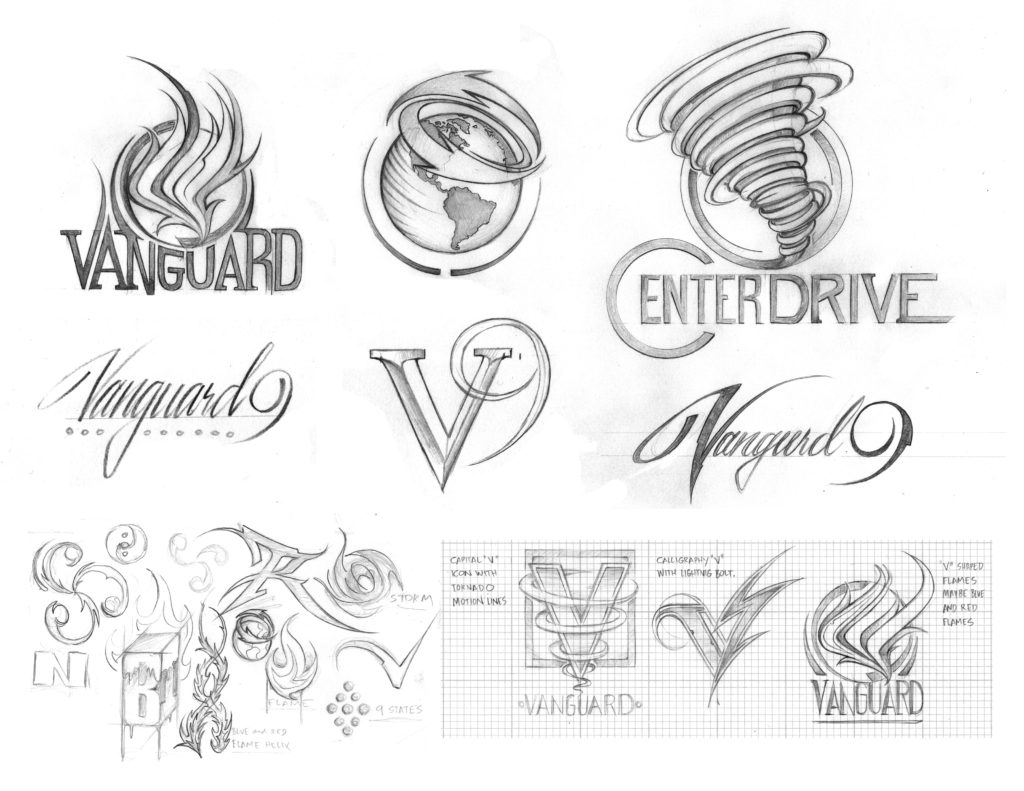 Some of the preliminary sketches for an array of sales team logos.