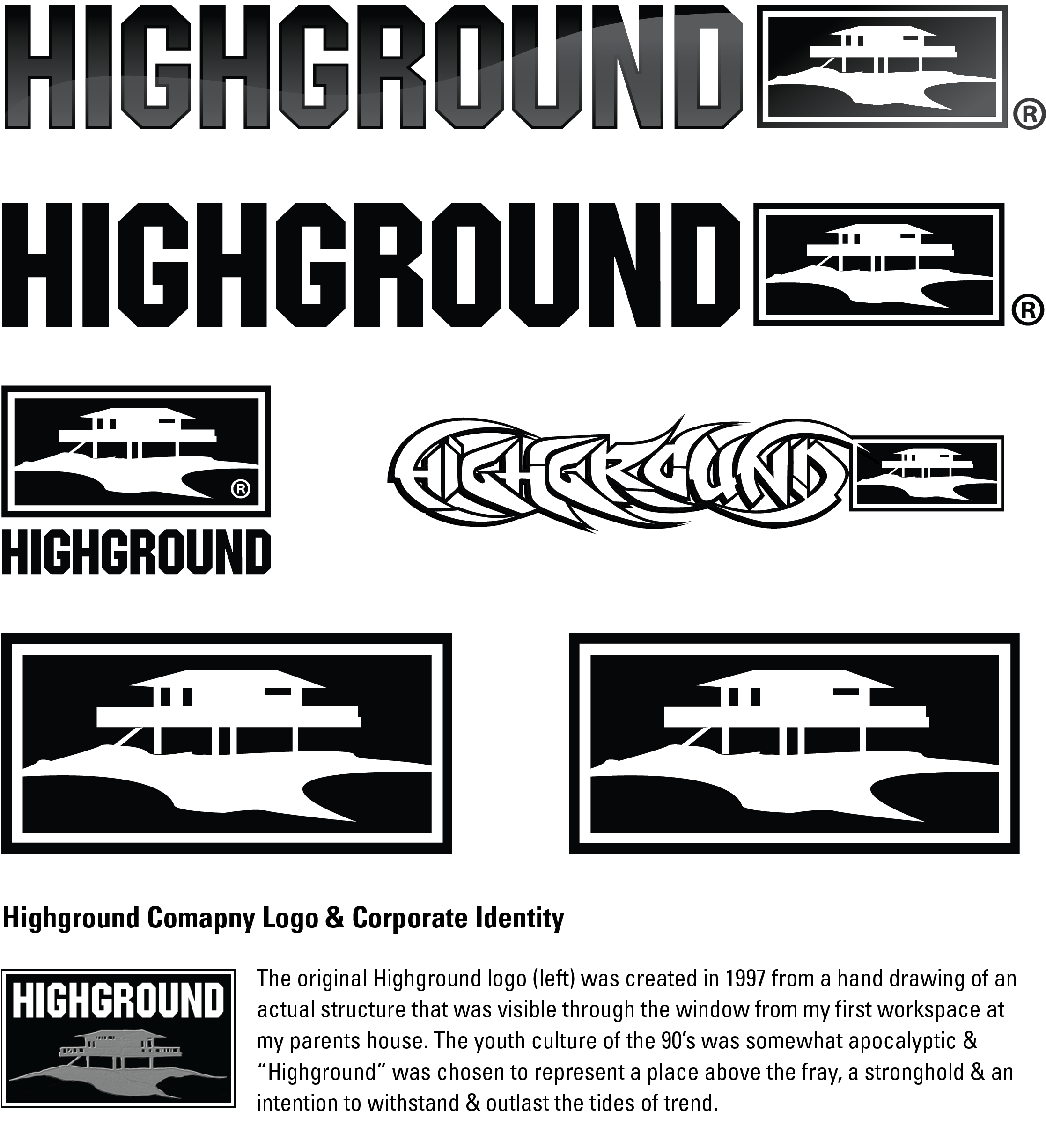 This images shows the evoluton & variations of the Highground logo from 1997 until now.